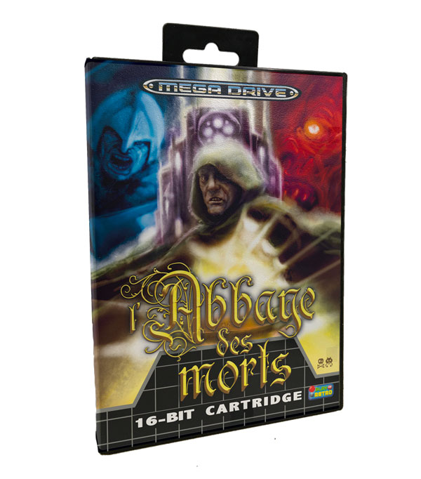 l'Abbaye des Morts ported to SEGA Mega Drive by @MoonWatcherMD and edited in cartridge format by @PlayOnRetro