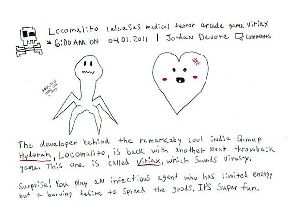 Viriax post on a hand drawn Destructoid for April Fools day 2011