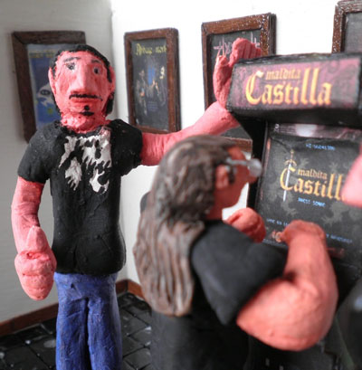 A diorama of the Maldita Castilla speedrun tournament at RetroMadrid 2013