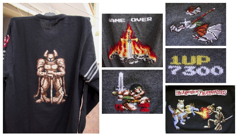Handmade sweaters with images from Golden Axe and Rastan long time ago