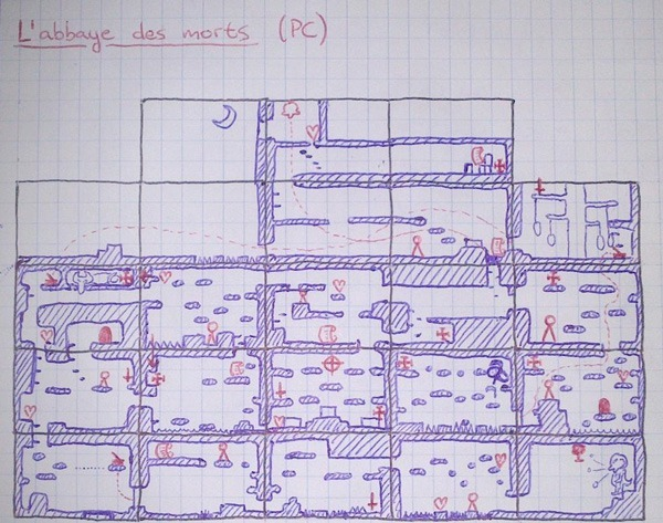 Hand drawn map of l'Abbaye des Morts