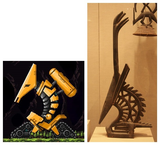A cool coincidence in NY Metropolitan Museum. Maybe there were meroptians in New Guinea?