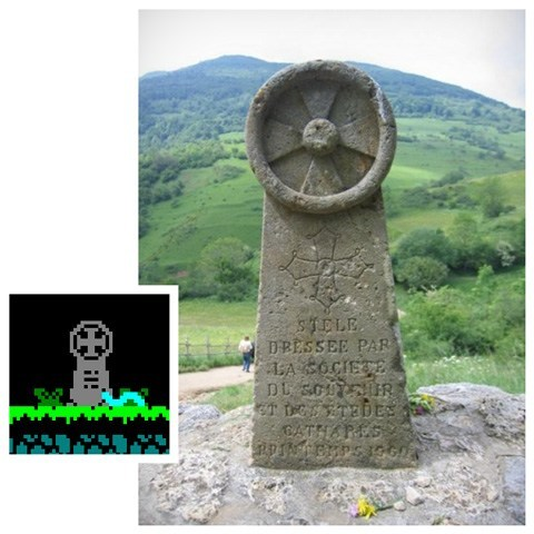 The original cathar cross that inspired l'Abbaye des Morts checkpoints at Montsegur castle